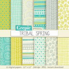 """Papel digital tribal: """"TRIBAL primavera"""" con disenos y orígenes tribales en colores verdes, amarillos, gris y blancos frescos"""