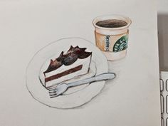 At the 'starbucks' with colored pencils.