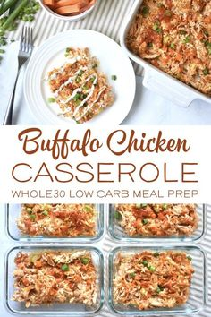 You really can't go wrong with buffalo chicken! This Buffalo Chicken Casserole is Whole30, Paleo and Keto friendly! It's a healthy comfort food recipe that is perfect for meal prep! #whole30recipes #paleorecipes #ketorecipes Buffalo Chicken Casserole, Meal Prep Bowls, Healthy Meal Prep, Healthy Eating, Whole 30, Low Carb Recipes, Clean Eating, Clean Foods, Whole30