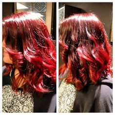 Bright red ombre. #HairByKimberly