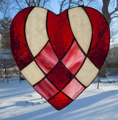 Large Handcrafted Stained Glass Harlequin Heart Suncatcher | eBay