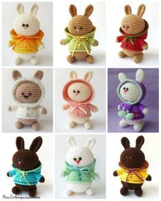 "Crochet Amigurumi Rabbit Patterns Aren't they cute? The pattern is free on ""How to Amigurumi"". The pattern is free on ""How to Amigurumi"". Easter Crochet, Crochet Bunny, Knit Or Crochet, Cute Crochet, Crochet Crafts, Crochet Projects, Amigurumi Free, Crochet Patterns Amigurumi, Crochet Dolls"