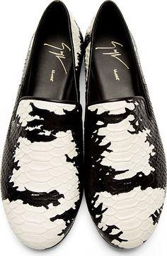 Giuseppe Zanotti: Black Snakeskin Loafers