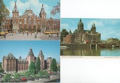 4 Beautiful Unused Postcards of Amsterdam, Holland, c1980s, St. Nicholas Church, Central Station, Rijksmuseum, Wooden Shoes KLM, good shape by VintageNEJunk on Etsy