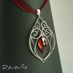 Fire - vintage style wire wrapped sterling silver pendant
