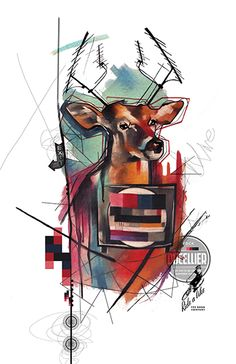 Fine art print of Deer & TV from my new line called RemixIT Design....a collaboration of my tattoo work remixed with digital illustrations from my partner-in-art, T.A.D.pole. It can be purchased at my website at:   http://www.ivanatattooart.com/print-store.html  or use this link for the open stock pieces:  http://www.ivanatattooart.com/Open-Stock-Shopping-Cart.html