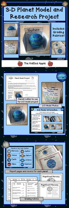 Students research and create a 3-D planet model! Includes model photos, planet report pages, and grading rubrics.