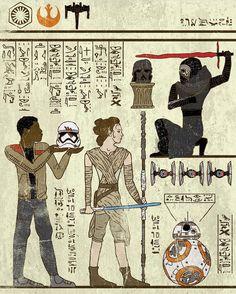 Hieroglyphics. . Art by @joshln  #starwars#rey#kyloren#bb8#starwarsart#starwarsfan#thelastjedi#lucasfilm#disney#theforceawakens#egypt#hieroglyphics