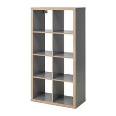 IKEA - KALLAX, Étagère, gris/effet bois, , Ce meuble peut servir de séparateur de pièce car il présente la même finition sur tous les côtés.Vous pouvez le placer à la verticale ou à l'horizontale et l'utiliser comme une étagère ou un buffet.