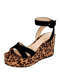 681f8c93bd1 Gianvito Rossi Suede and Leopard-Print Platform Sandals