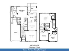Naval Complex San Diego – Santo Terrace (Murphy Canyon) Neighborhood: 3 bedroom 2.5 bathroom duplex home floor plan (1378 SQ FT).