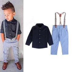 2018 Fashion Design Little Boys clothes shirt   suspender