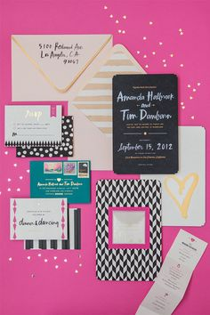 Pretty wedding invitations in pink, black, and white