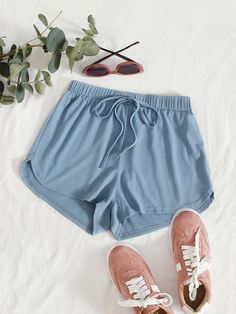 Tie Waist Rib-knit Track Shorts | SHEIN USA Girls Fashion Clothes, Girl Fashion, Girl Outfits, Fashion Outfits, Crop Top Outfits, Lounge Shorts, Knit Shorts, Rib Knit, Knit Tie