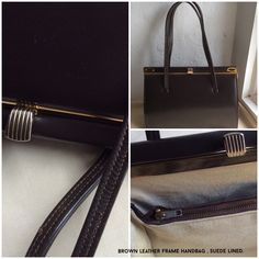 This is the latest vintage handbag added to Coolclobber. Small and neat, brown leather with a light suede lining and a thumb push clasp, it's the epitome of elegance!