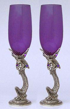 purple champagne flutes | Fairy Wedding Toasting Glasses Set