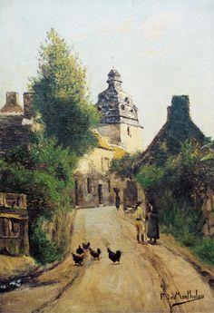 Affiche La rue de l'église, Le Faouët Un siècle de peinture au Faouët (1845-1945) 4€ Musée du Faouet