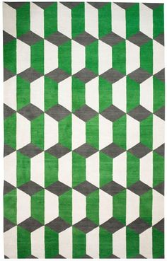 Pattern like this could bring depth to the LED display even without variation in color. Chiesa Green Rug by Suzanne Sharp for The Rug Company. Graphic Patterns, Color Patterns, Print Patterns, Design Patterns, Motifs Textiles, Textile Patterns, Textile Design, Geometric Designs, Geometric Shapes