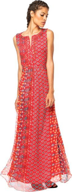 Compre Vestido Cantão Estampa Floripa Vermelha por R$ 404.99