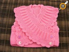 """This little cross over top would be perfect over jeans or trousers. """"Isabella crossover Top knitting Pattern by - Craftsy"""", """" Short rows ~~ Pink Baby Ve Knitting For Kids, Crochet For Kids, Baby Knitting Patterns, Baby Patterns, Free Knitting, Crochet Patterns, Knit Vest Pattern, Top Pattern, Crochet Afgans"""