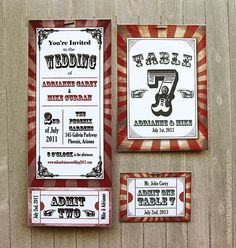 Movie ticket wedding invites and table seating