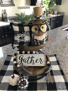 Black White Buffalo Plaid Owl Decor ~ Select from Regular or Deluxe Package REGULAR Package Includes: ~Green Leaves branch with a small metal base ~Owl with glasses ~ 2 small plastic pumpkins ( just as pictured) Fall Home Decor, Autumn Home, Cheap Home Decor, Home Interior, Interior Design Living Room, Black And White Owl, White Plaid, Plaid Decor, Gingham Decor