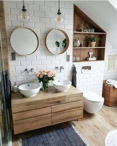 Modern Farmhouse Master Bath Renovation - Obsessed with our vanity spaces! Ideas Baños, Decor Ideas, Decorating Ideas, Tile Ideas, Bad Inspiration, Bathroom Inspo, Neutral Bathroom, Bathroom Layout, Earthy Bathroom