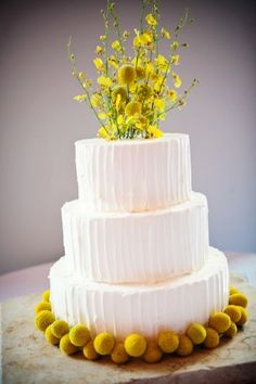 I like the look of a white cake with some texture and a few colorful details