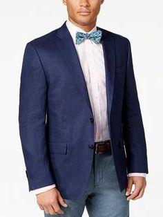 #MensUSA - #Mensusa Products Men's Navy Solid 2 Button Linen Classic Fit Sport Coat Blazer - AdoreWe.com