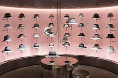 nendo has renovated one of the fashion floors to resemble a circus, and the hat section has been developed in the shape of clouds.