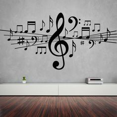 Music Wall Sticker Musical Notes Decal Vinyl by BlackLotusDesgns