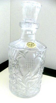 Over 24% Lead Crystal Hand Made Decanter by Leonard Italy Vintage w/Gold Trim #Leonard