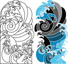 Japanese Water Tattoo, Japanese Flower Tattoo, Japanese Tattoo Designs, Japanese Sleeve Tattoos, Japan Tattoo Design, Wave Tattoo Design, Tattoo Design Drawings, Wave Design, Hai Tattoos