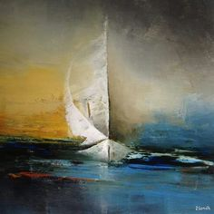 Abstract Sailboat Painting On Canvas Small Abstract Seascape - Salvabrani Seascape Paintings, Landscape Paintings, Sailboat Painting, Boat Art, Art Techniques, Oeuvre D'art, Painting Inspiration, Watercolor Paintings, Modern Art
