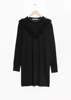 & Other Stories image 1 of Merino Wool Frills Dress in Black