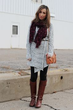 Leggings and long cardigan (belted)