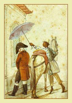 """Cena de rua - Jean Baptiste Debret  coleção Jean Boghici - Rio de Janeiro  Ao final do século XVIII, os descendentes dos portugueses, """"filhos da terra"""", dominavam um vasto território com muitas riquezas.   Durante várias décadas, essas elites expressavam um desejo de cortar a metrópole que """"sugava o sangue.""""   Um incidente vai precipitar o nascimento da nação brasileira: fugindo exércitos de Napoleão, o Príncipe Regente de Portugal se instala no Rio de Janeiro."""