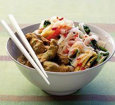 Chilli coconut pork with vegetable noodle salad
