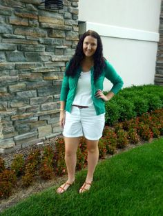 Just Another Smith: green polka dot cardigan, white shorts, cognac sandals