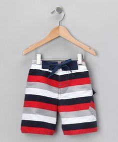 Charlie Rocket Red & Gray Stripe Swim Trunks