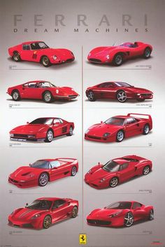 A great poster of Ferrari Dream Machines! Includes the 1962 250 GTO, 1984 Testarossa, 2010 458 Italia, and more. Fully licensed. Ships fast. 24x36 inches. Need Poster Mounts..? py32295