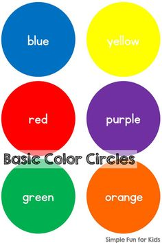 Simple basic color circles printable to practice color recognition, color sorting, color words, etc. Teaching Toddlers Colors, Color Sorting For Toddlers, Color Activities For Toddlers, Colors For Toddlers, Toddler Learning Activities, Preschool Colors, Teaching Colors, Preschool Activities, Toddler Color Learning
