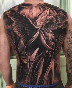 "631 Likes, 22 Comments - PHIL HAAS ® (@philhaastattoos) on Instagram: ""Angel backpiece  done at the @tattooexpozwickau 16 hours 2 days  special thx to my hard…"""
