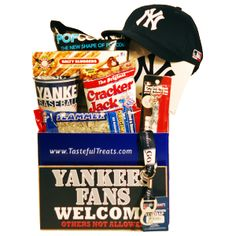 #NewYorkYankees, #NYY New York Yankees Baseball Gift Baskets, Gifts for New York Yankees Fans | Tasteful Treats and Treasures