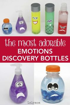 Learn how to make these amazing DIY emotional discovery bottles inspired by Disney Pixar's Inside Out from LalyMom. They are perfect for teaching your kids to recognize and express emotions. Emotional regulation is a key developmental milestone for kids. Grab these adorable bottles inspired by Disney Pixar's Inside Out and make teaching emotions fun for kids. #emotion #learning #selfregualtion #diy #crafts #discoverybottles #expressemotions Teaching Emotions, Emotions Activities, Sensory Activities, Craft Activities For Kids, Kindergarten Activities, Toddler Activities, Learning Activities, Sensory Rooms, Mindfulness Activities