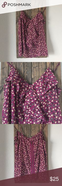 Zippered back patterned camisole. Magenta colored patterned cami with zipper on back. Perfect for date night, paired with jeans or wear layered under sweater or jacket. silence + noise Tops Camisoles
