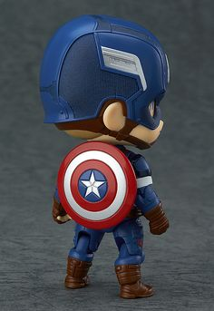 The next of the Avengers to join the Nendoroids - Captain America! From 'Avengers: Age of Ultron' comes a figure of the leader of the Avengers, Captain America! The fully articulated Nendoroid has been carefully sculpted and painted with his u. Chibi Marvel, Marvel Art, Marvel Dc Comics, Marvel Heroes, Captain America Wallpaper, Tsumtsum, Avengers Wallpaper, Avengers Age, Marvel Characters