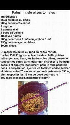 TUPPERWARE - Pâtes minute olives tomates