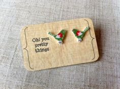 Green bird stud earring posts by Ohyouprettythings77 on Etsy, £3.00