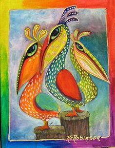 Art 'Pelicans #7831' - by Ke Robinson from BIRDS